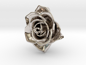 Romantic Rose Necklace in Rhodium Plated Brass