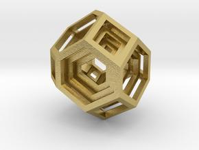 Encompassing Gem - Pendant in Natural Brass (Interlocking Parts)
