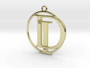 Initials D&I and circle monogram in 18k Gold Plated Brass