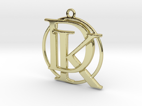 Initials D&K and circle monogram in 18k Gold Plated Brass