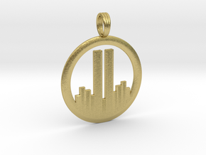 NEVER FORGET WTC 911 PENDANT in Natural Brass