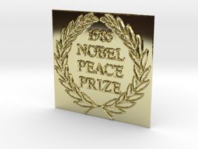 The 1985 Peace Nobel Prize in 18k Gold Plated Brass: Extra Small
