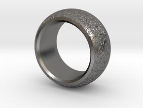 mojomojo - Flower Vine modern ring design 1A in Polished Nickel Steel