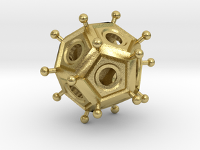Roman Dodecahedron  in Natural Brass