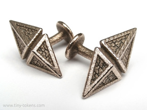 Zendikar Hedron Cufflinks in Polished Bronzed Silver Steel