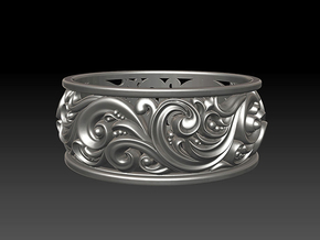 Ornament ring 2 in Polished Silver: 7 / 54