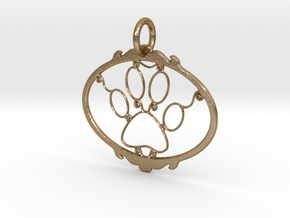 Paw Print pendant in Polished Gold Steel