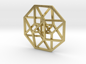 "4D Hypercube (Tesseract) small 1.4"" in Natural Brass"