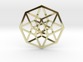 "4D Hypercube (Tesseract) 2.5"" in 18K Gold Plated"