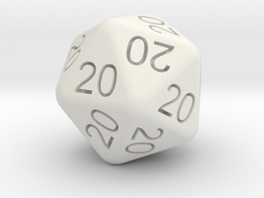 20 Dice of 20s in White Natural Versatile Plastic