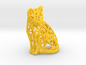 Sitting cat in Yellow Processed Versatile Plastic