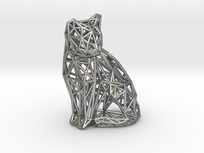 Sitting cat in Natural Silver