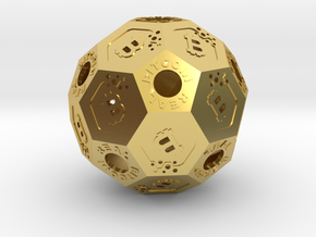BitCoinReal-Cryptocurrency Polyhedron in Polished Brass