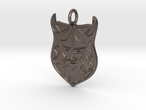 Vikings Mascot Pendant in Polished Bronzed-Silver Steel