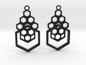 Geometrical earrings no.4 in Black Natural Versatile Plastic: Small