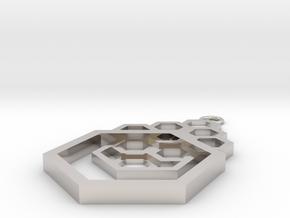 Geometrical pendant no.4 in Platinum: Small