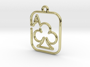 The Ace of Club continuous line pendant in 18k Gold Plated Brass