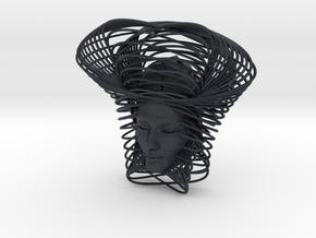 Wire Curve Art + Nefertiti (001c) in Black Professional Plastic