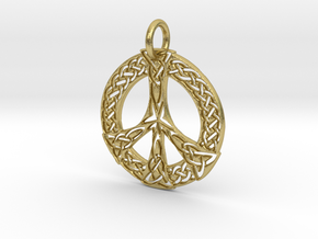 Celtic Peace Pendant in Natural Brass: Extra Small