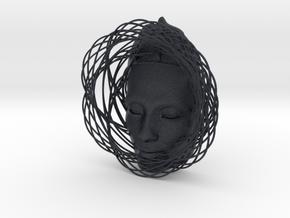 Wire Curve Art + Nefertiti (002d) in Black Professional Plastic