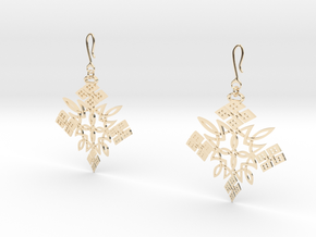 Habesha Cross Earrings Tapered in 14k Gold Plated Brass