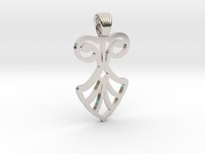 Art Deco Flower [pendant] in Rhodium Plated Brass