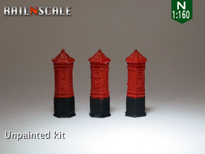 SET 3x Penfold Pillar Box (N 1:160) in Smooth Fine Detail Plastic