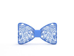 Bowtie Tropical Pattern in Blue Processed Versatile Plastic