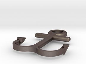 Anchor bracelet in Polished Bronzed-Silver Steel