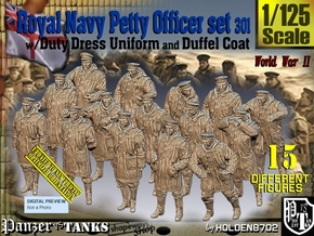 1/125 Royal Navy DC Petty OffIcer Set301 in Smooth Fine Detail Plastic