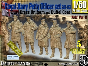 1/50 Royal Navy DC Petty OffIcer Set301-03 in Smooth Fine Detail Plastic