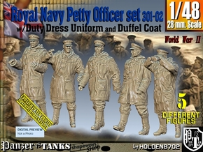 1/48 Royal Navy DC Petty OffIcer Set301-02 in Smooth Fine Detail Plastic