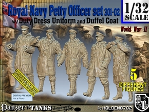 1/32 Royal Navy DC Petty OffIcer Set301-02 in Smooth Fine Detail Plastic
