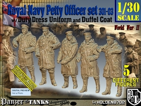 1/30 Royal Navy DC Petty OffIcer Set301-03 in White Natural Versatile Plastic