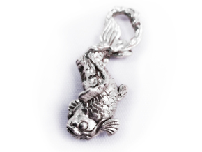 Koi Carp Pendant in Natural Silver