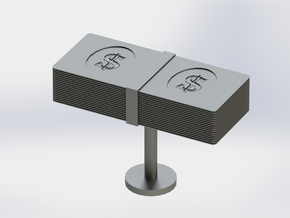 Money Cufflink in Polished Bronzed Silver Steel
