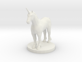 Standing Unicorn in White Natural Versatile Plastic