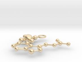 Psilocybin Molecule (large) in 14k Gold Plated Brass