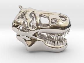 T-Rex Skull Pendant in Rhodium Plated Brass