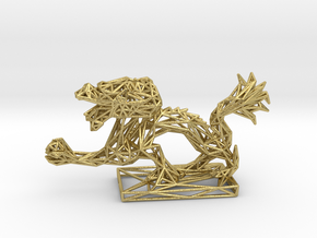 Dragon with Icosahedron in Natural Brass