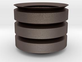 Cilinder_Pot in Polished Bronzed-Silver Steel: 15mm