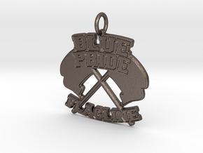 Blue Pride Flagline Pendant in Polished Bronzed-Silver Steel