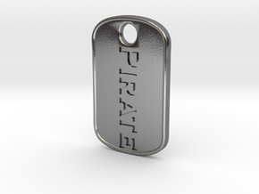 Pirate military tag [pendant] in Polished Silver
