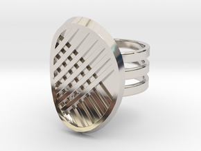 Three Stripe Ring in Rhodium Plated Brass: 4 / 46.5