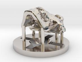 Predator Hominid Skull Pendant in Rhodium Plated Brass