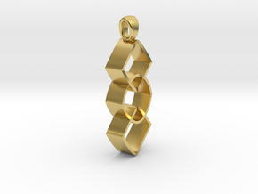 Groupe of impossible cylinders [pendant] in Polished Brass
