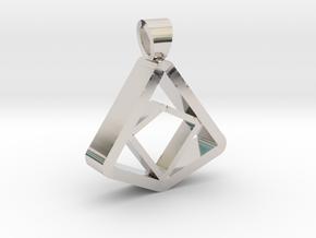Square and Triangle illusion [pendant] in Platinum
