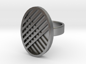 One Stripe Ring in Natural Silver: 4 / 46.5