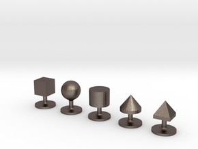 Set of 5 Geometric Solids Shirt Studs in Polished Bronzed-Silver Steel