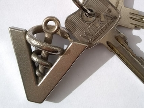 Veterinarian's keychain in Polished Bronzed-Silver Steel: Medium